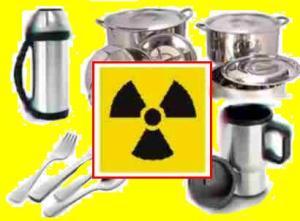 La vajilla y envases de metal de su cocina pueden estar radioactivos.