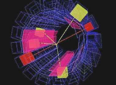 Gráfico de la aniquilación de un átomo de antihidrógeno en el CERN. (Imagen: CERN)