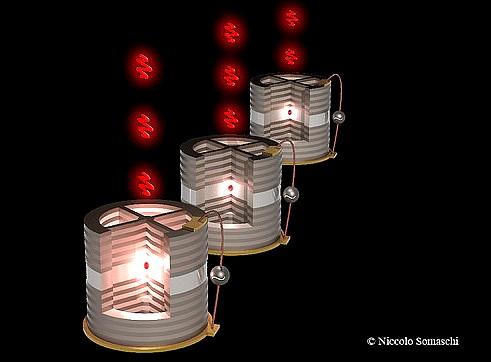 lustración de tres nanofuentes (puntos rojos en el centro de la cavidad) de donde manan millones de fotones individuales por segundo. / Niccolo Somaschi/LPN-CNRS