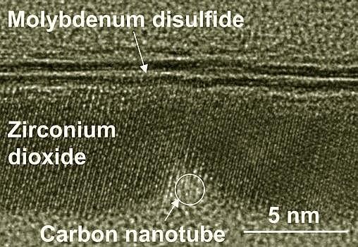 Corte del transistor, visto al microscopio electrónico. Esos tamaños no son visibles con la luz de los microscopios ópticos- Qingxiao Wang, UT Dallas